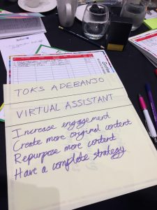 Karen Yates Social Media Strategy Bootcamp desk Toks Adebanjo Virtual Assistant Services blog review giant post it note